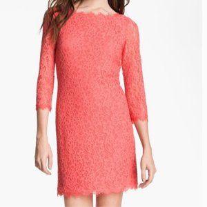 DVF Zarita Lace Sheath Dress Coral 3/4 Sleeve Sz 0